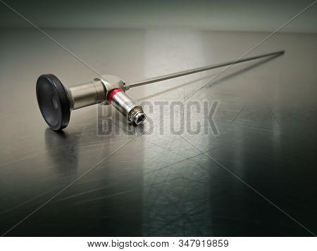 Rigid Light Source Surgical Telescope. Using For Key Hole Surgery.