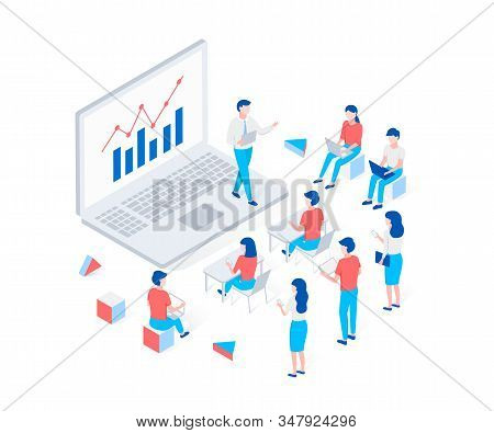 Online Webinar, Training, E-learning Isometric Concept. Isometric Man Tells Students About A Graph O