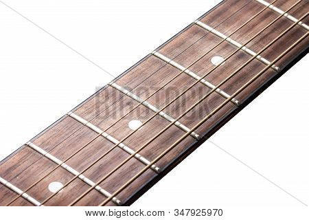 Wooden Guitar Fret Isolated On White. Empty Copy Space Music Background.