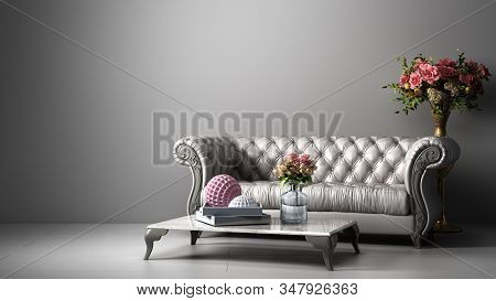 Simple Room Interior Render With White Leather Sofa In Darck White Style 3d Render Image