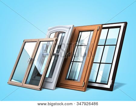 Different Tipes Of Window Sale Promotion Background 3d Render On Blue Gradient