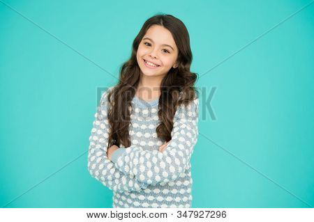Child Care. Happy Childhood. Beautiful Kid. Emotional Girl. Little Girl Blue Background. Smiling Sma