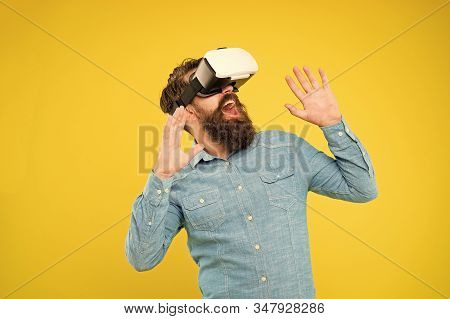 Impressive Visual Effects. Bearded Man Explore Vr. Gamer Concept. Gaming Hobby. Cyber Sport. Augment