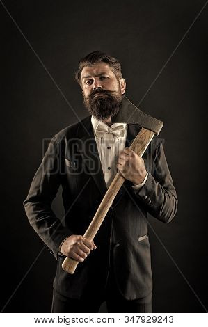 Sharp Ax Hand Confident Guy. Masculinity And Brutality. Barbershop Hairstyle. Brutal Barber. Brutal