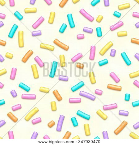 Seamless Pattern Of White Donut Glaze With Many Decorative Sprinkles