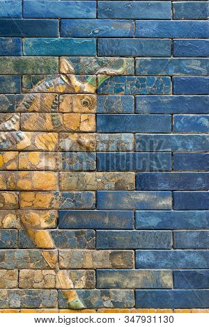 Detailed Wall Fragment With Aurochs Symbol Of Hadad Deity From Ancient Babylon