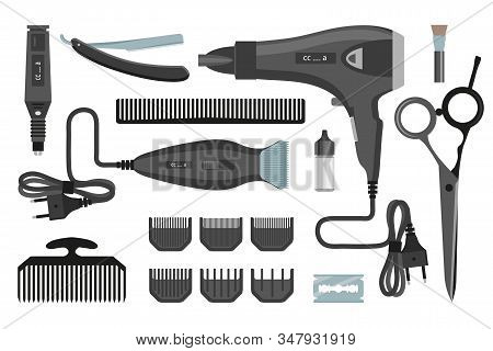 Hairdresser Set. Barber Tools Set. Hair Instruments. Fashion Proffessional Tools. Equipment Of Haird