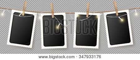 Realistic Retro Photo Frames Template. Vector Illustration With Blank Photo Cards With Sparkling Lig