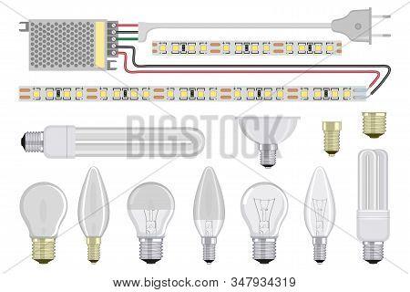 Set Of Realistic Light Bulb. Incandescent And Fluorescent Energy Saving Light Bulbs. Vector 3d Light