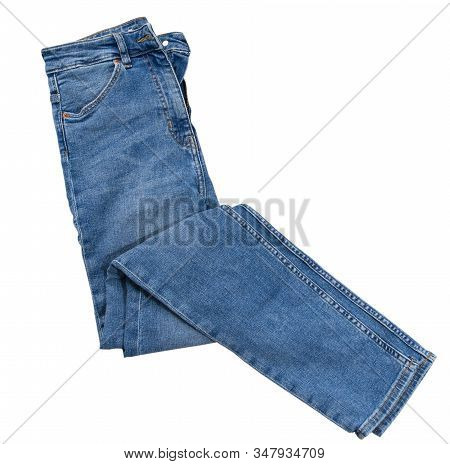 Denim Isolated Top View. Blue Jeans Isolated On White. Blue Jeans Trouser Isolated On The White Back