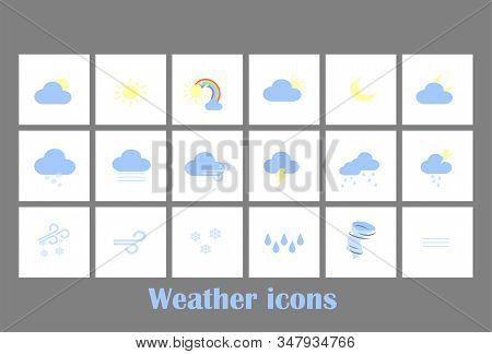 Weather Forecast Tablet Mobile Symbols Widget Icons Set With Clouds And Rainbow . Big Vector Set Fla