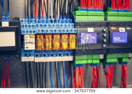 Cabling Connection Of  Power Electric Line In Industrial Distribution Fuseboard, Safety Shutdown Dev