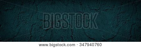 Neon Blue Wall Rough Wide Texture. Cement Drips Dark Grunge Widescreen Background