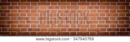 Wide Red Brick Wall Texture. Rough Orange Brickwork Widescreen Backdrop. Large Long Abstract Backgro