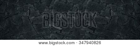 Black Plaster Strokes Wide Texture. Stucco Wall Rough Surface. Large Dark Grunge Background