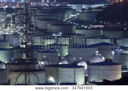 Lots Of Storage Chemical And Gasoline Tanks In The Oil Refinery