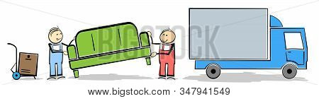 Household Moving Concept With Stickman Workers Transporting Furniture And Boxes To Or From Truck Vec