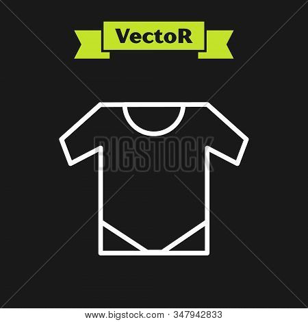 White Line Baby Onesie Icon Isolated On Black Background. Baby Clothes Symbol. Kid Wear Sign. Vector