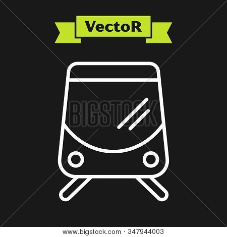 White Line Tram And Railway Icon Isolated On Black Background. Public Transportation Symbol. Vector