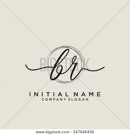 Br Initial Handwriting Logo With Circle Template Vector.