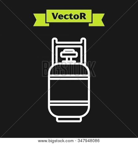 White Line Propane Gas Tank Icon Isolated On Black Background. Flammable Gas Tank Icon. Vector Illus