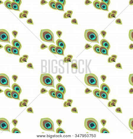 Vector Seamless Pattern. Bright Green Peacock Feathers Like A Peacock Tail Located Diagonally On Whi