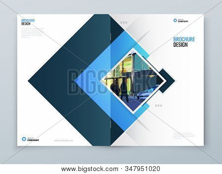 Brochure Cover Background Design. Blue Corporate Template Layout For Business Annual Report, Catalog