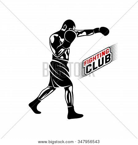 Fight Player Logo Design Vector, Boxing Logo Template, Muay Thai Kick Boxing Logo Vector, Combat Spo