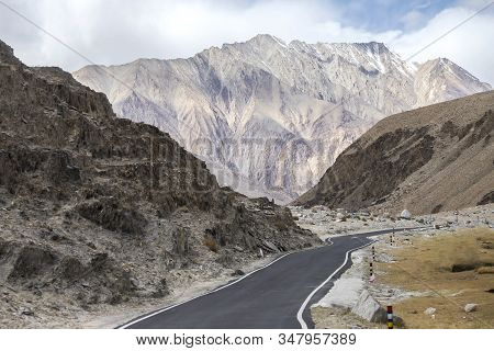 Leh Ladakh, Beautiful Landscape View On Road Around With Mountain And Sky Background, Leh, Ladakh, J