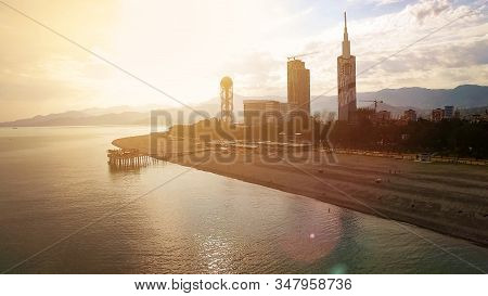 Light Haze Surrounding Batumi Seafront With Buildings At Back, Late Afternoon