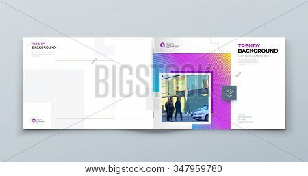 Landscape Brochure Cover Background Design. Modern Brochure Concept With Square Rhombus Shapes. Vect