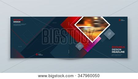 Dark Horizontal Brochure Cover Design. Corporate Template Layout For Business Annual Report, Catalog