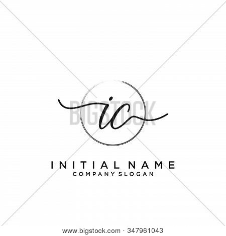 Ic Initial Handwriting Logo With Circle Template Vector.
