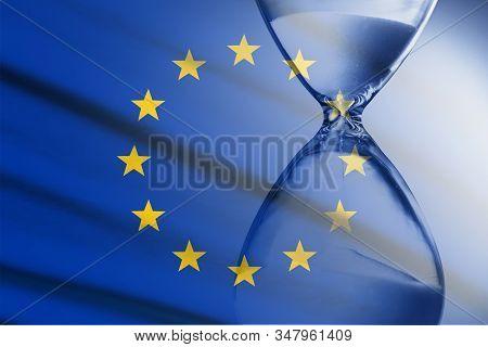 Composite Image Of The Eu Flag And Hourglass