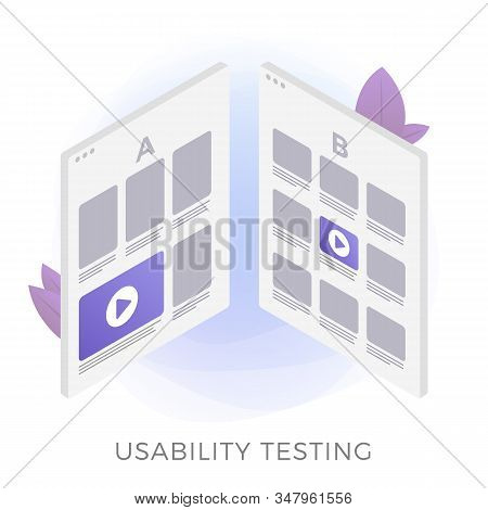 Usability Testing Flat Vector Icon Concept. Prototype Of Two Different Ui Web App Interfaces For Tes