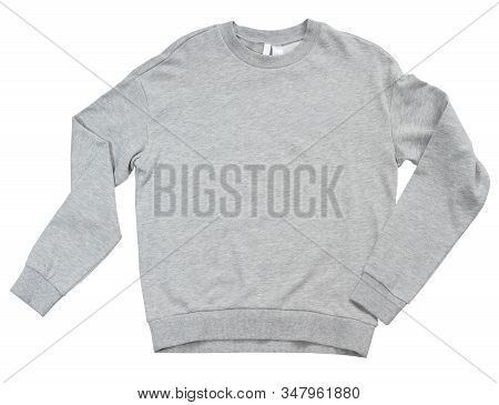 Blank Sweatshirt Grey Color Mock Up Template Front View On White Background. Gray Cotton Sweatshirt