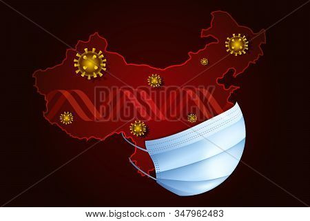 Coronavirus Or Corona Virus Concept. China In A Medical Mask With Dna Protects Itself From Ncov