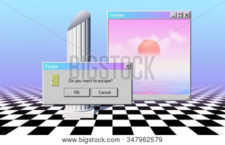Abstract Vaporwave Aesthetics Computer Windows Background With 90s Style System Message Window, Palm