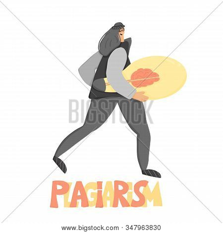 Plagiarism Concept, Infringement Of Copyright. Woman In Mask Stealing An Idea Metaphor. Thief Runnin