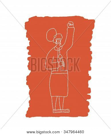 Female Character Standing With Microphone. Orator Speaking. Girl With Mike In Full Length. Vector Co