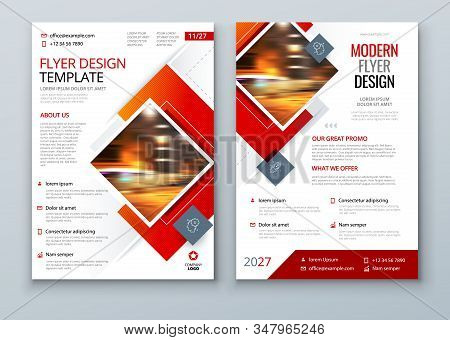 Flyer Design. Red Modern Flyer Background Design. Template Layout For Flyer. Concept With Square Rho