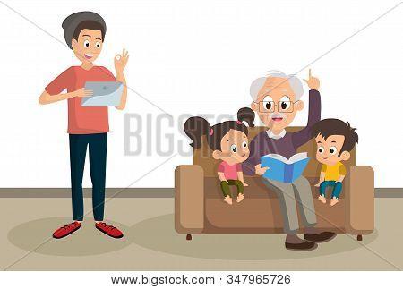 Phrase Ok Boomer, Generation Z, Grandfather Teaches Grandchildren, Reads A Book, Generational Confli