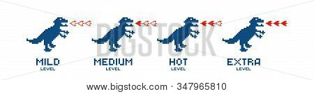 Pixel Dinosaur. Mild Medium Hot Extra Spicy Level Fire Dinosaur, Red Chili Pepper, Strength Scale In