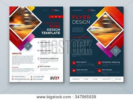 Dark Flyer Design. Modern Flyer Background. Corporate Template Layout For Business Annual Report, Ca