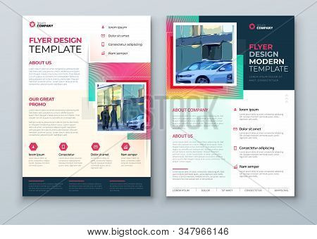 Flyer Design. Corporate Template Layout For Flyer Mockup. Modern Concept With Square Rhombus Shapes.