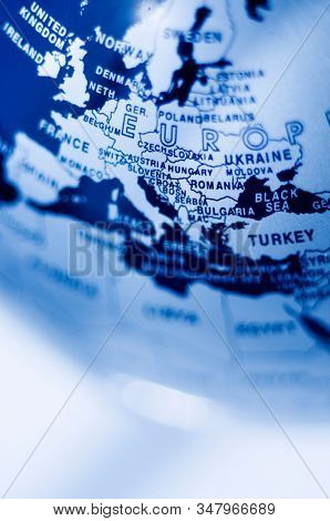 Map of central Europe in blue tone