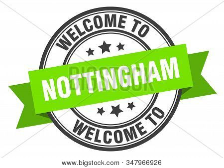 Nottingham Stamp. Welcome To Nottingham Green Sign