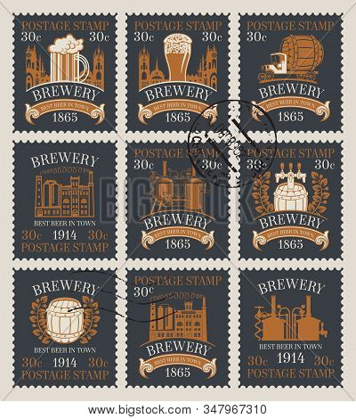 Set Of Old Postage Stamps On The Theme Of Beer And Brewery. Philatelic Collection Of Stamps With Pos