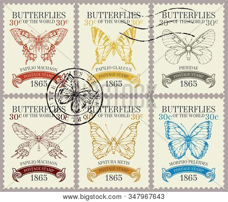 Vector Set Of Postage Stamps With Various Beautiful Butterflies And Their Names In Retro Style. Old