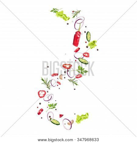 Swirls Of Lettuce, Fresh Vegetables, Spices.presentation Of The Dish, Recipe, Healthy Nutrition, Veg